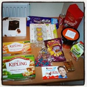 Tesco, Mark & Spencer, Mr. Kipling, guloeimas, Inglaterra, comida em Londres
